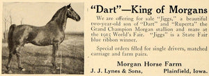 1919 Ad Grand Champion Worlds Fair Morgan Horse Farm - ORIGINAL ADVERTISING CL4