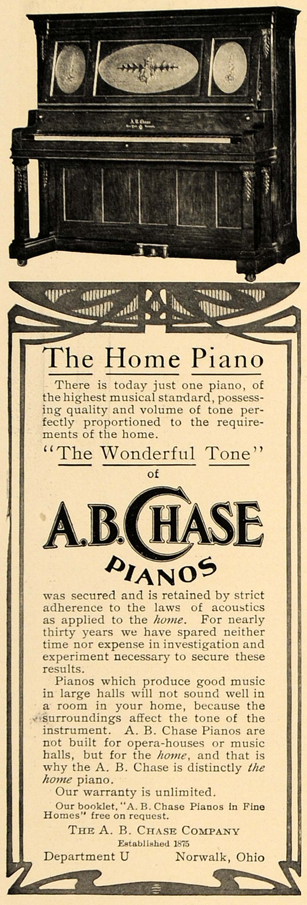1906 Ad Antique A.B. Chase Home Pianos Norwalk Ohio - ORIGINAL ADVERTISING CL4