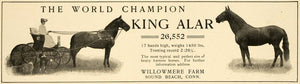 1906 Ad Willowmere Farm King Alar World Champion Horse - ORIGINAL CL4