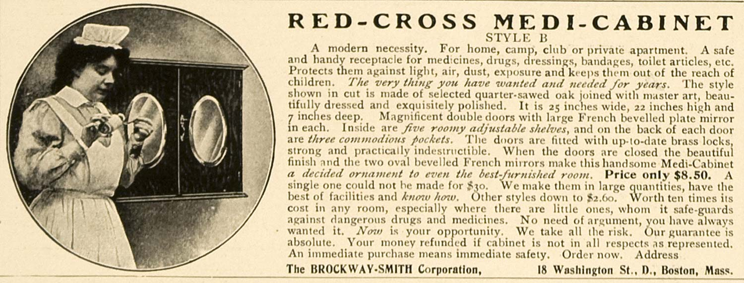 1906 Ad Red-Cross Medi-Cabinet Style B Brockway-Smith - ORIGINAL ADVERTISING CL4