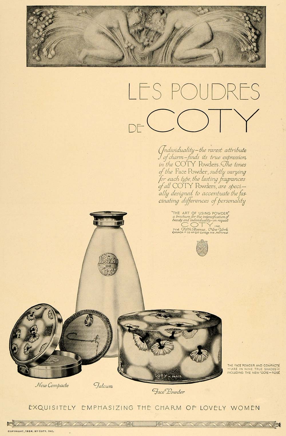 1924 Ad Coty Face Taclum Powder Compact French Vintage - ORIGINAL CL4