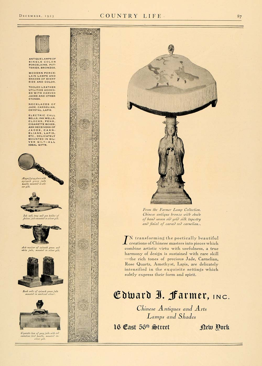 1923 Ad Edward J. Farmer Chinese Antiques Lamps Shades - ORIGINAL CL4