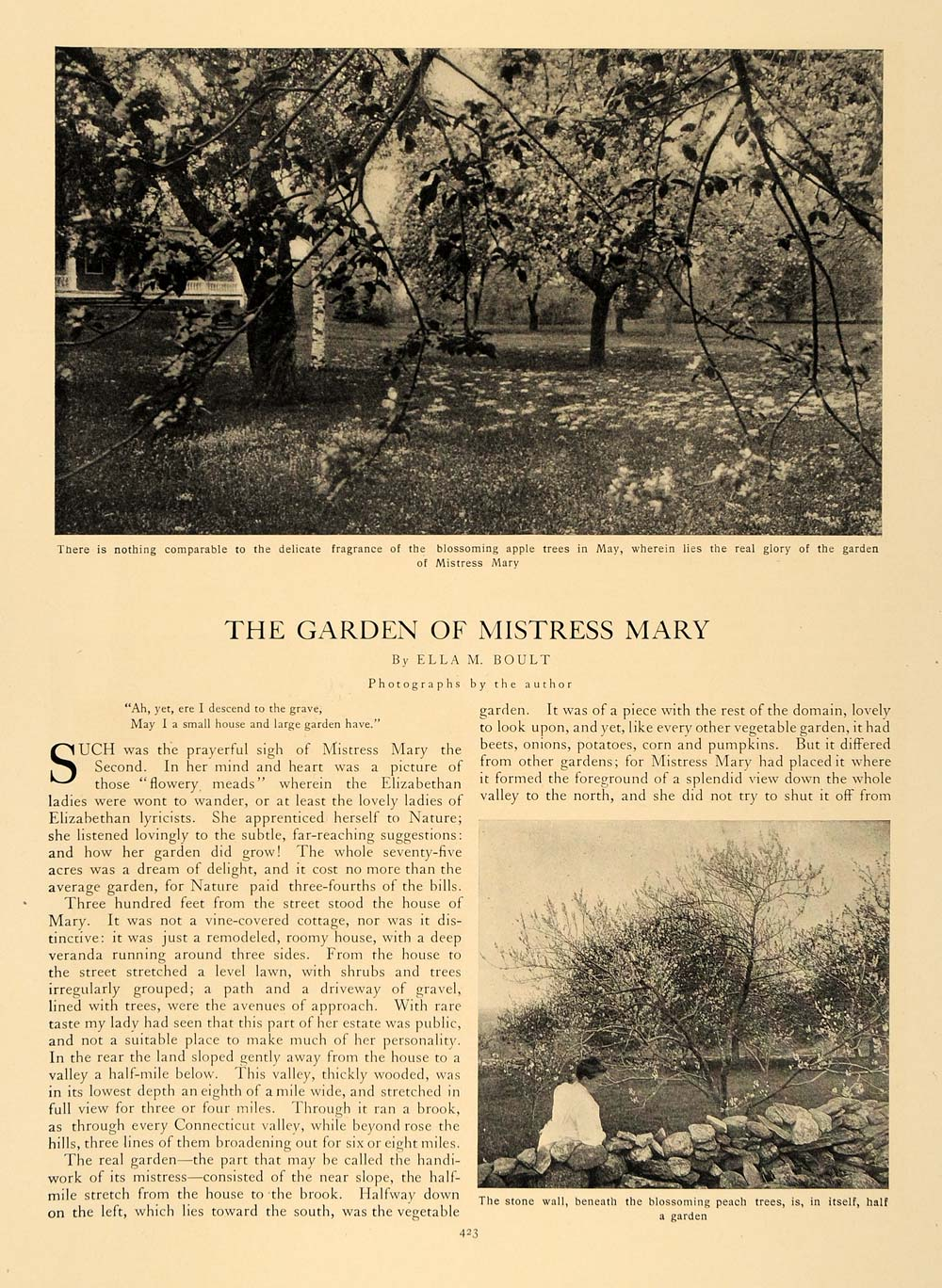 1907 Article Garden Mistress Mary Ella M. Boult Flowers - ORIGINAL CL5