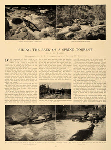 1909 Article Canoe Canoeing Running Rapids River Rocks - ORIGINAL CL5