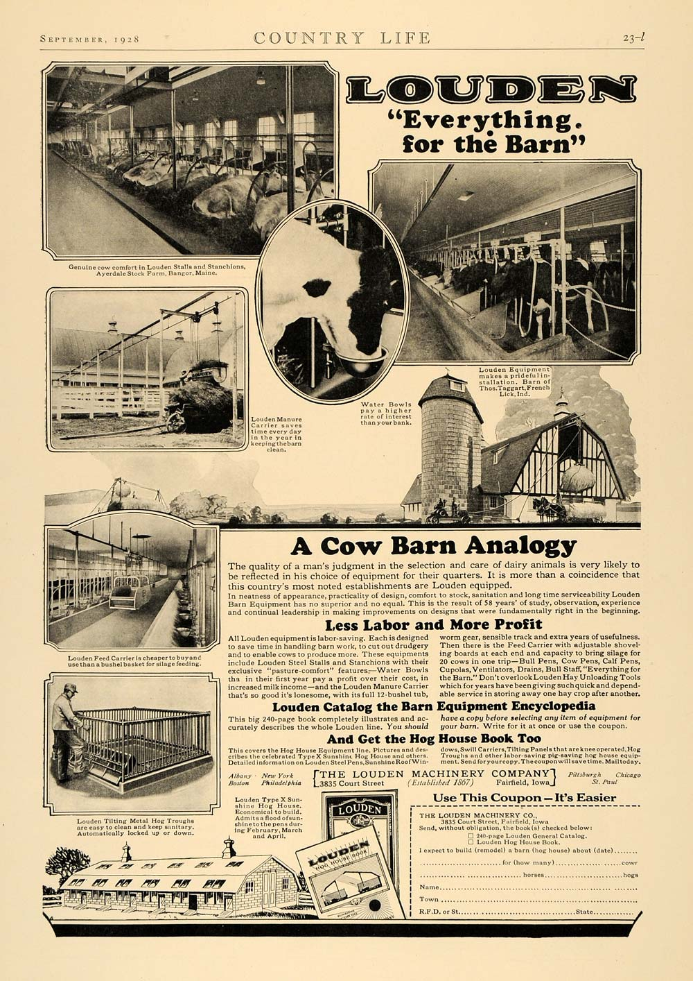 1928 Ad Louden Machinery Ayerdale Stock Farm Cow Barn - ORIGINAL ADVERTISING CL6