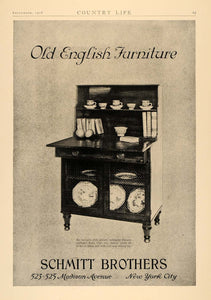 1928 Ad Schmitt Brothers Old English Furniture Cupboard - ORIGINAL CL6