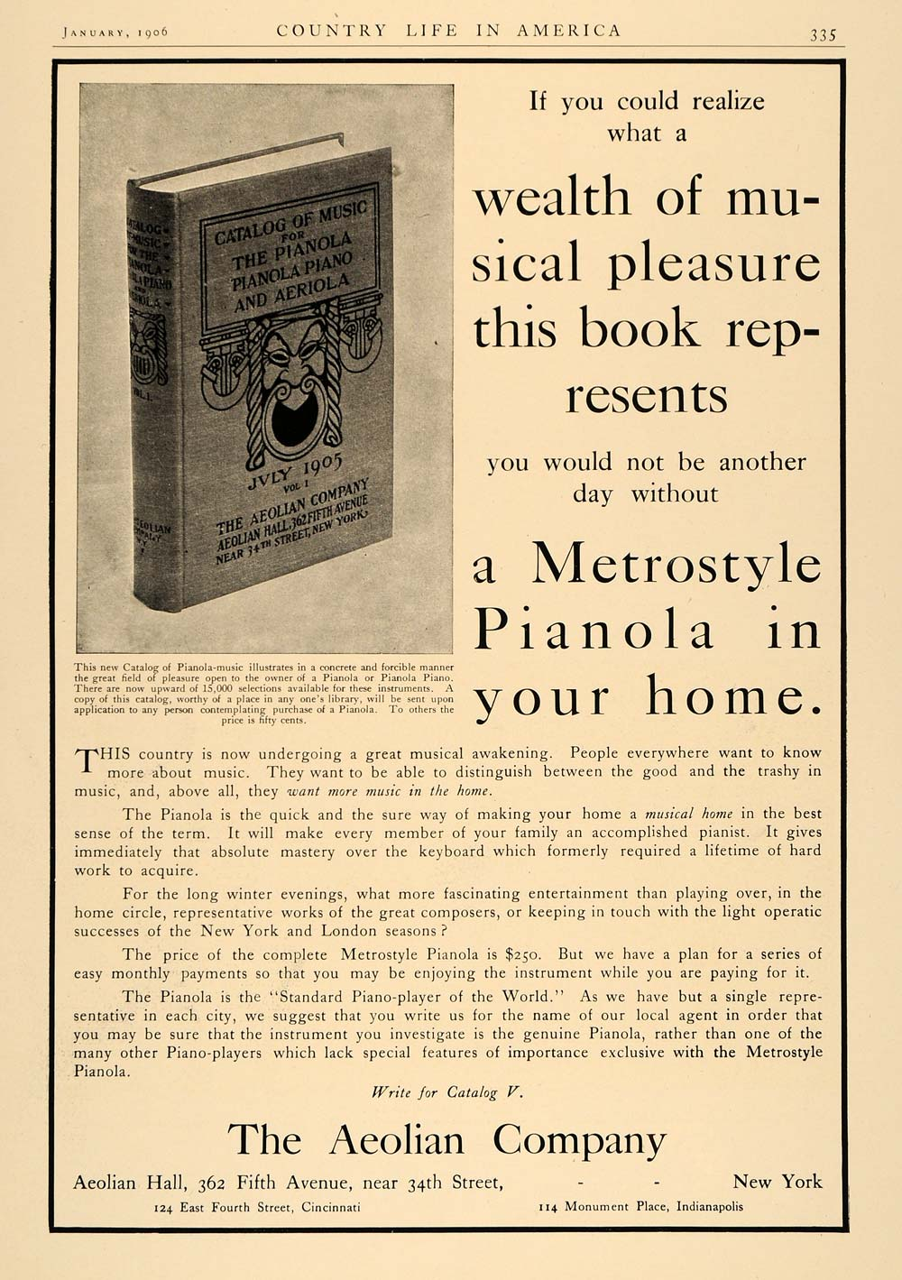1906 Ad Aeolian Metrostyle Pianola Piano Book Catalog - ORIGINAL ADVERTISING CL6