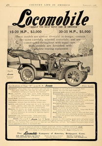 1906 Ad Locomobile Antique Car Type E Model H Pricing - ORIGINAL ADVERTISING CL6