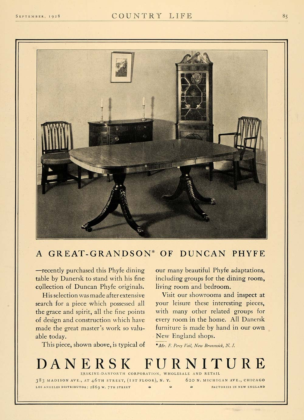 1928 Ad Danersk Furniture Percy Vail Duncan Phyfe Table - ORIGINAL CL6