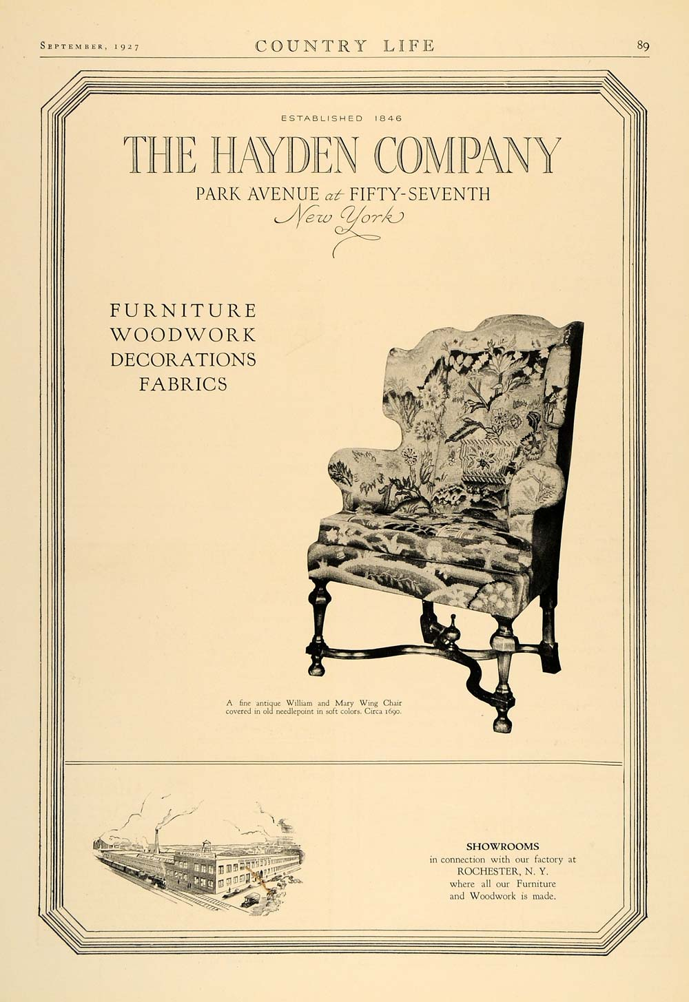1927 Ad Hayden William Mary Wing Chair Furniture Fabric - ORIGINAL CL6