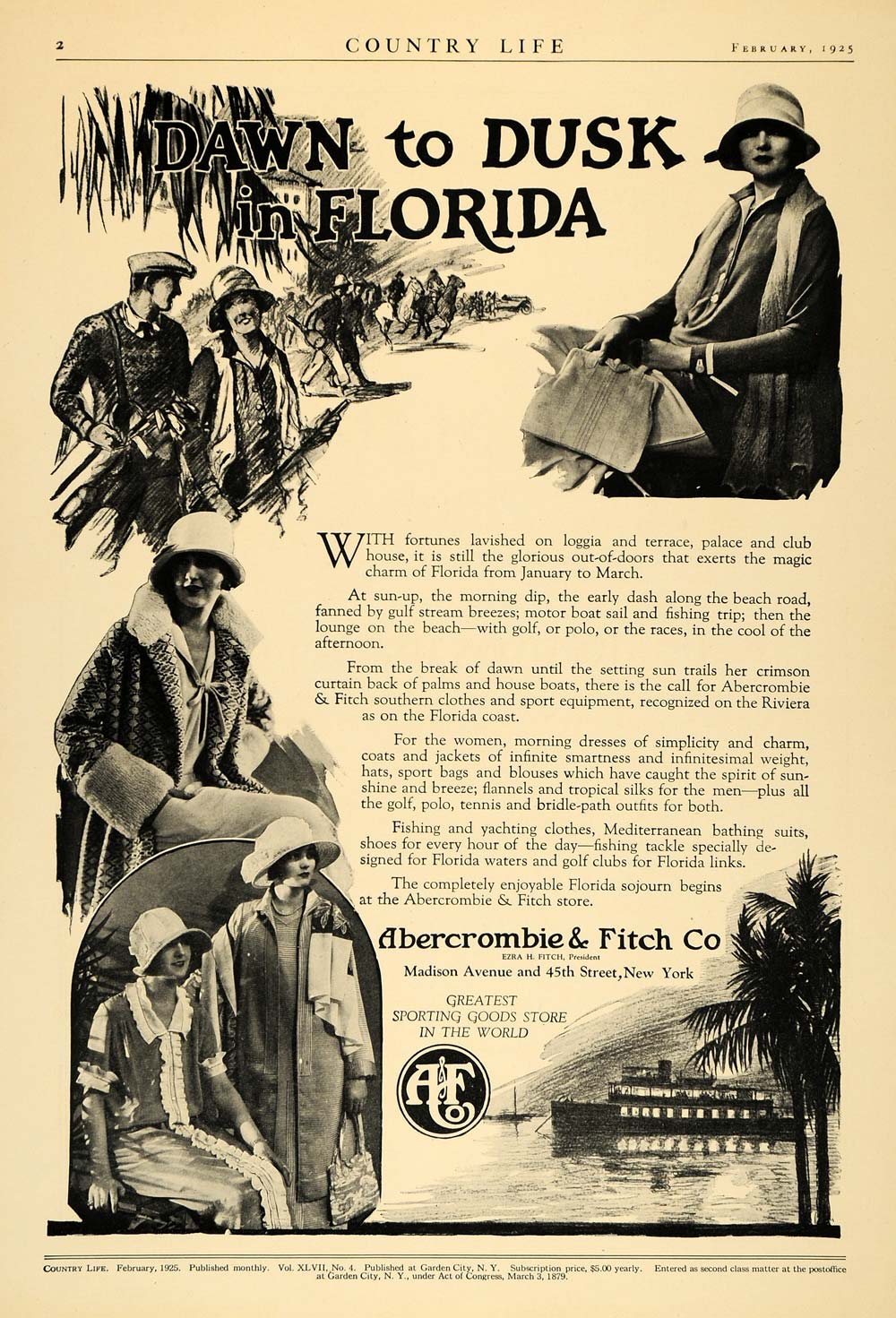 1925 Ad Abercrombie Fitch Sporting Good Apparel Florida - ORIGINAL CL6