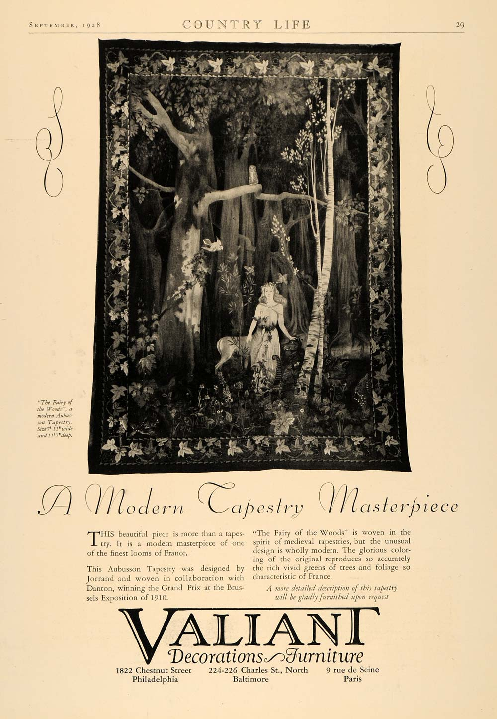 1928 Ad Valiant Decor Furniture Fairy Woods Tapestry - ORIGINAL ADVERTISING CL6