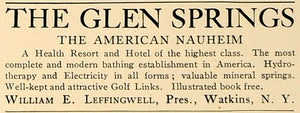 1905 Ad Glen Springs Leffingwell Nauheim Health Resort - ORIGINAL CL7