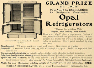 1905 Ad Opal Eureka Refrigerator Company Grand Prize - ORIGINAL ADVERTISING CL7