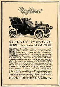 1905 Ad Rambler Surrey Type One Thomas B Jeffery Car - ORIGINAL ADVERTISING CL7