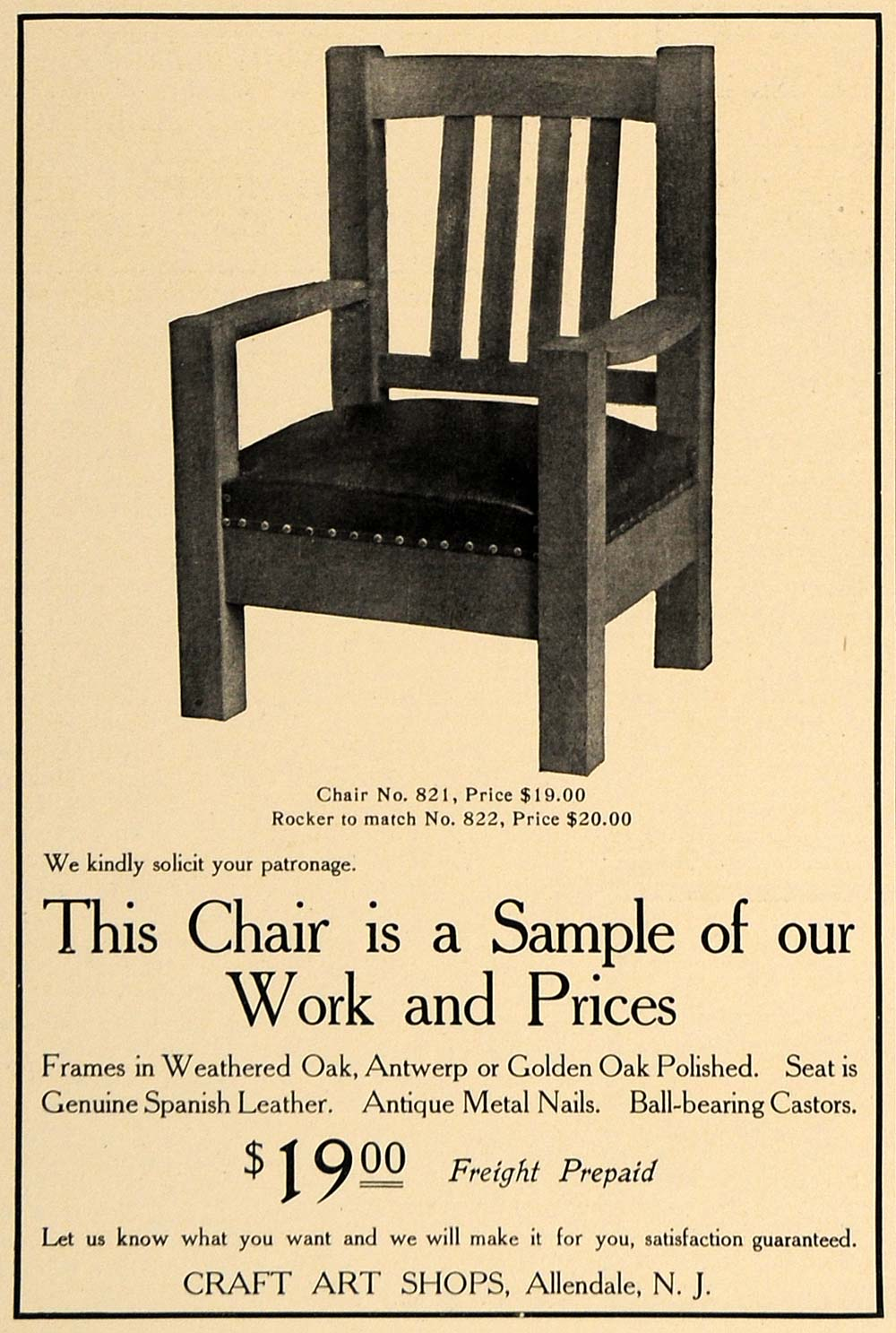 1905 Ad Chair 821 Craft Art Shops Furniture Allendale - ORIGINAL ADVERTISING CL7