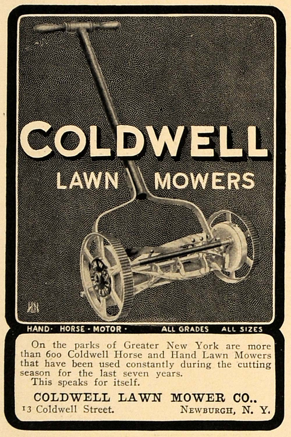 1905 Ad Coldwell Lawn Mower Toro Company Minneapolis - ORIGINAL ADVERTISING CL7