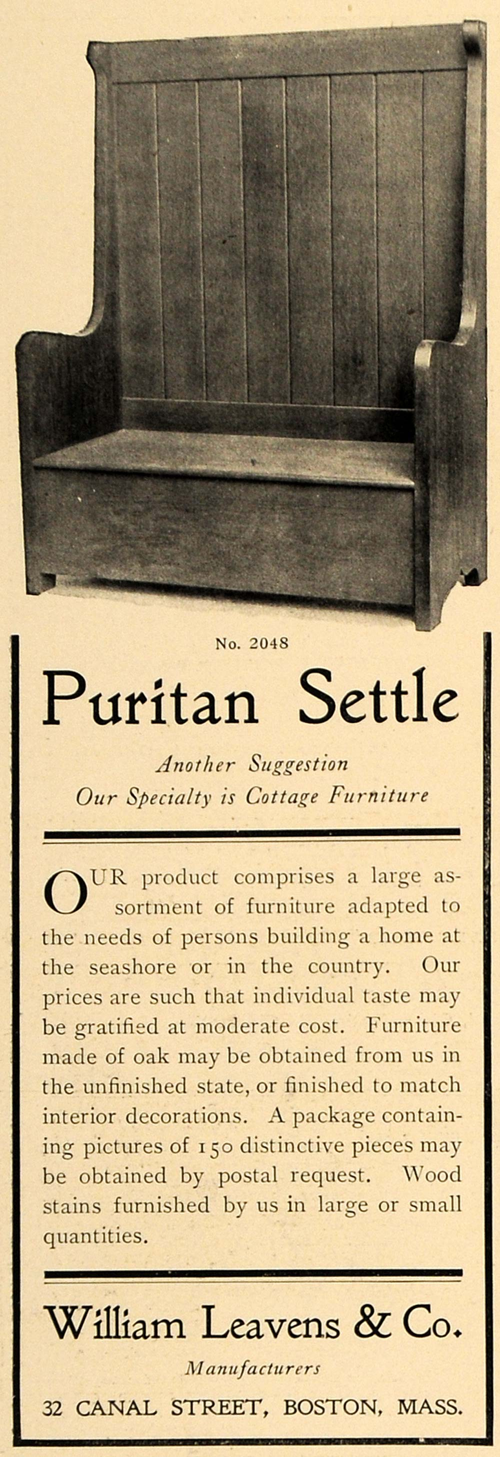 1905 Ad Puritan Settle Bench William Leavens Company - ORIGINAL ADVERTISING CL7