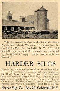 1905 Ad Baron de Hirsch Harder Manufacturing Pine Silos - ORIGINAL CL7