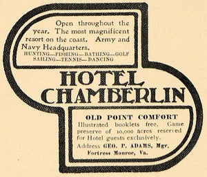1905 Ad Hotel Chamberlin Geo P Adams Fortress Monroe - ORIGINAL ADVERTISING CL7