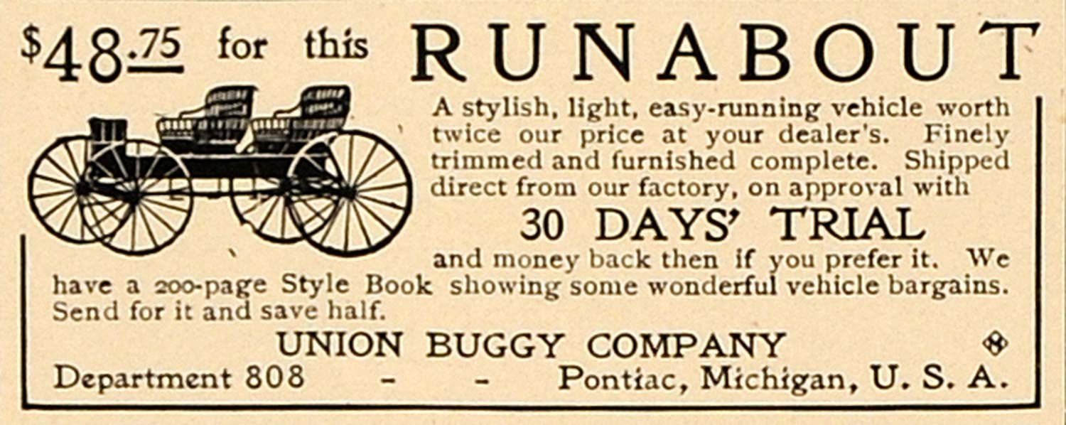 1905 Ad Runabout Union Buggy Company Horseless Carriage - ORIGINAL CL7
