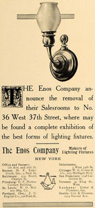 1909 Ad Enos Company Lamps Lighting Fixtures Decor - ORIGINAL ADVERTISING CL7