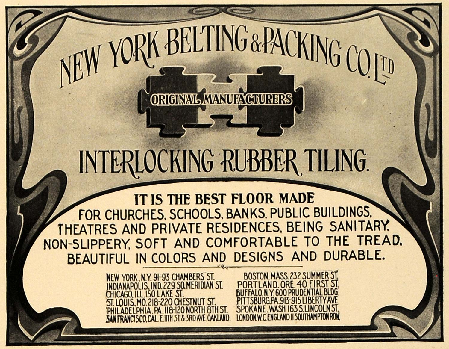 1909 Ad NY Belting Packing Interlocking Rubber Tiling - ORIGINAL ADVERTISING CL7