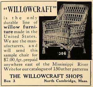 1909 Ad Willowcraft Shops North Cambridge Furniture - ORIGINAL ADVERTISING CL7