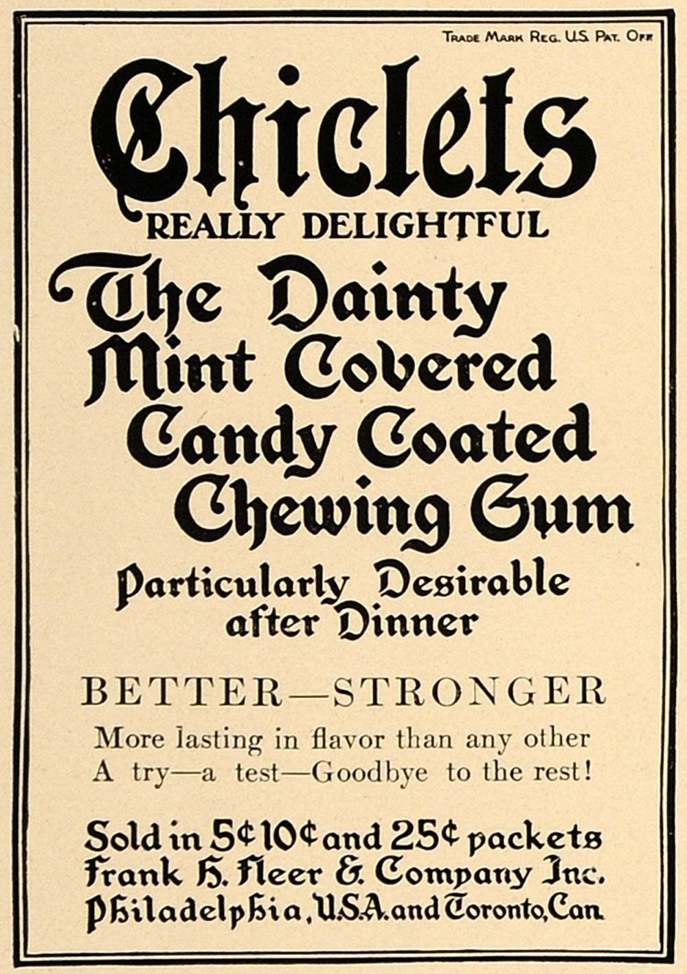 1909 Ad Chiclet Mint Chewing Gum Candy Cadbury Adams - ORIGINAL ADVERTISING CL7
