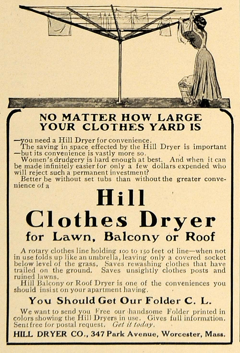 1909 Ad Hill Dryer Company Worcester Clothes Lawn Roof - ORIGINAL CL7