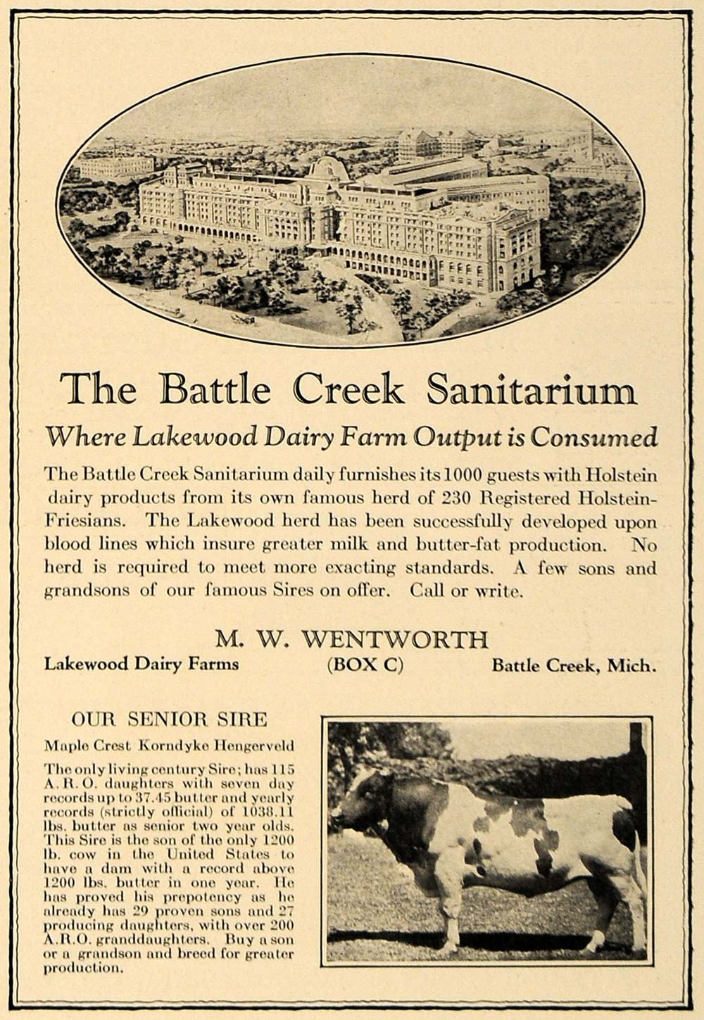 1925 Ad Battle Creek Sanitarium Lakewood Dairy Farms - ORIGINAL ADVERTISING CL7