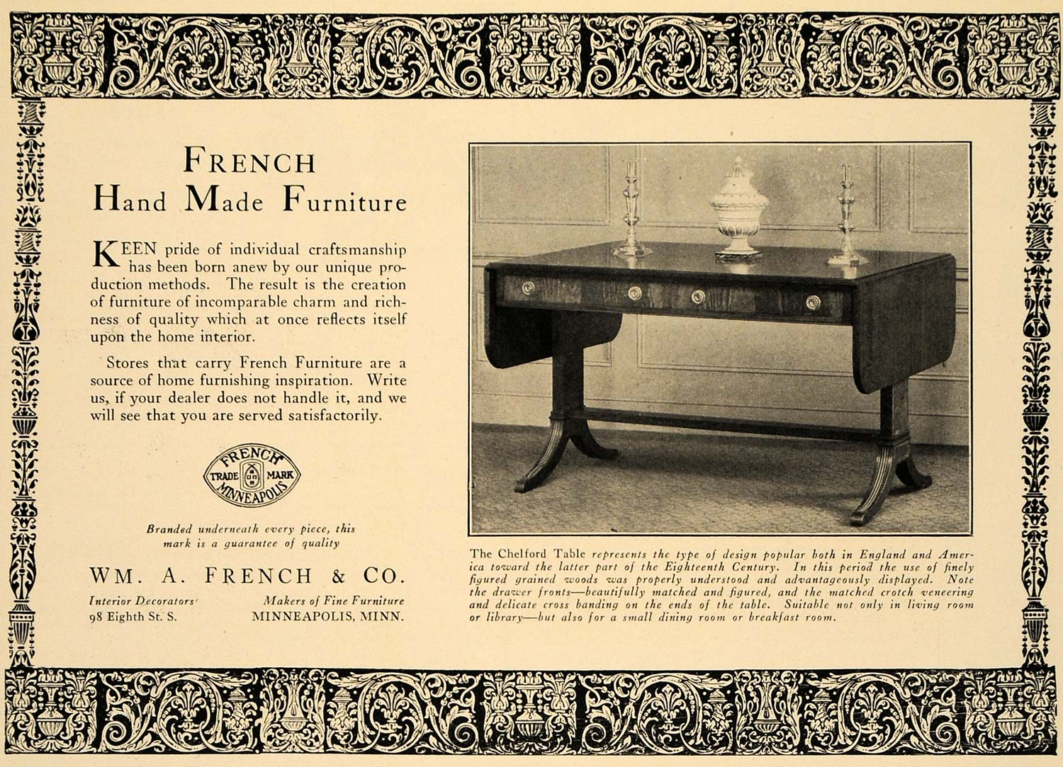 1925 Ad Wm A French Company Furniture Chelford Table - ORIGINAL ADVERTISING  CL7