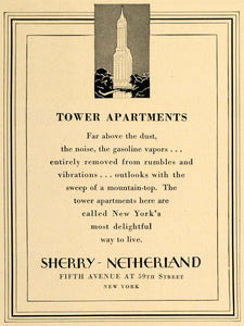 1928 Ad Tower Apartments Sherry Netherland Emery Roth - ORIGINAL ADVERTISING CL7