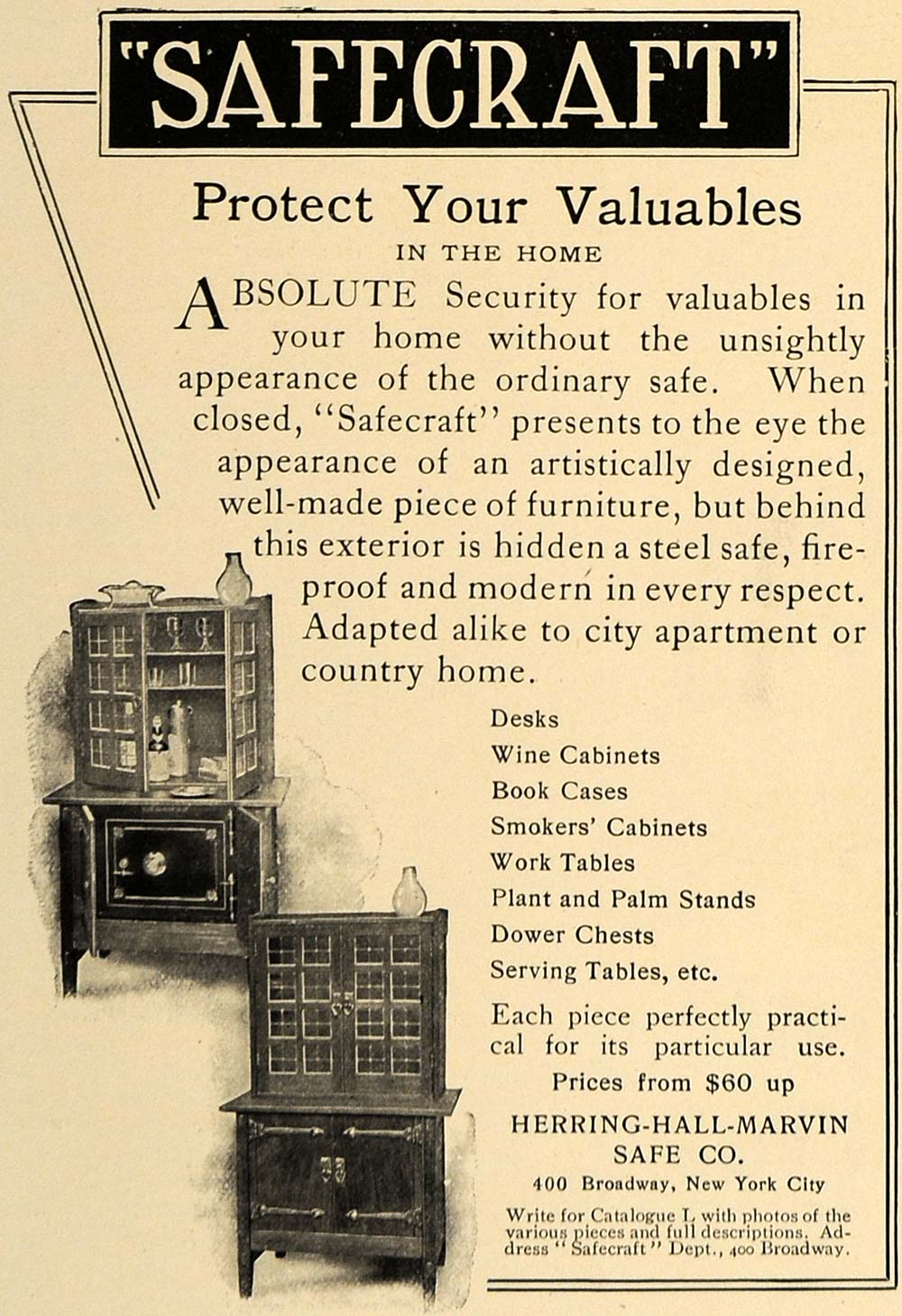 1906 Ad Safecraft Furniture Safe Herring Hall Marvin - ORIGINAL ADVERTISING CL8