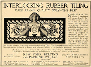 1906 Ad Interlocking Rubber Tiling NY Belting Packing - ORIGINAL ADVERTISING CL8