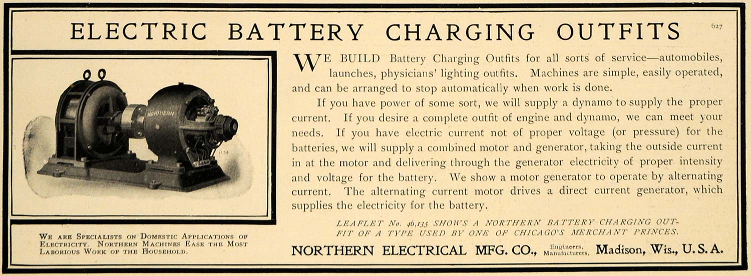 1906 Ad Electric Battery Charging Machine Northern Elec - ORIGINAL CL8