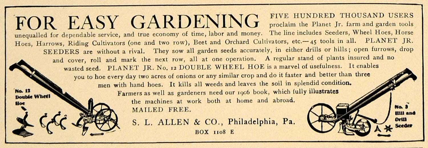 1906 Ad Gardening Machines Double Wheel Hoe S.L. Allen - ORIGINAL CL8