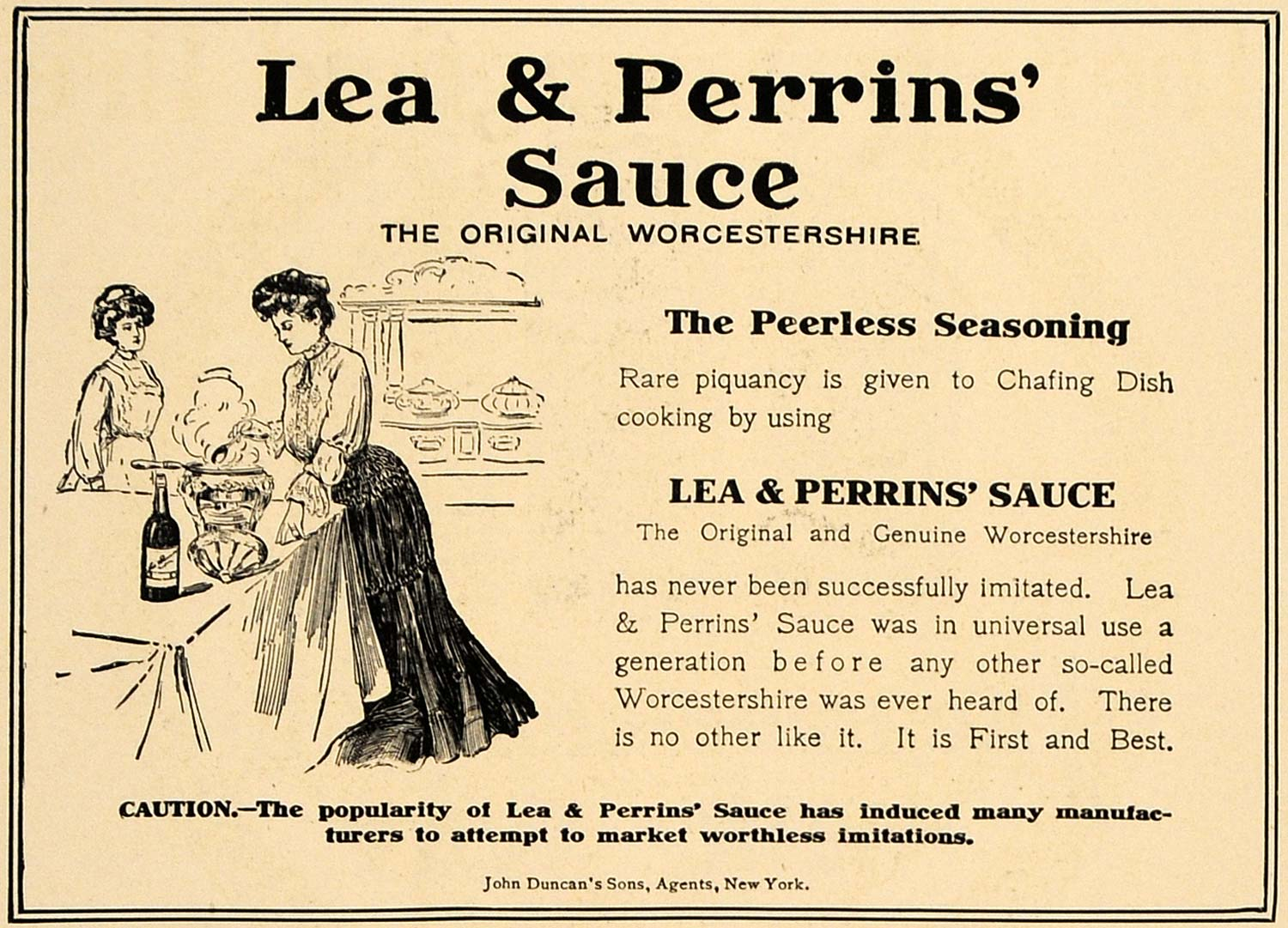 1906 Ad Lea Perrins Woman Dress Worcestershire Sauce John Duncan Food Dinner CL8