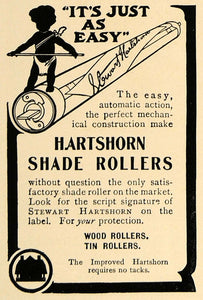 1906 Ad Stewart Hartshorn Window Shade Rollers Wood Tin - ORIGINAL CL8