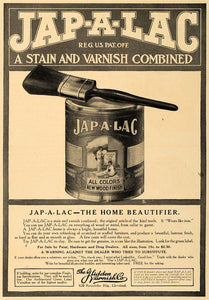 1907 Ad Jap-A-Lac Stain Varnish Combo Can Wood Finish - ORIGINAL ADVERTISING CL8