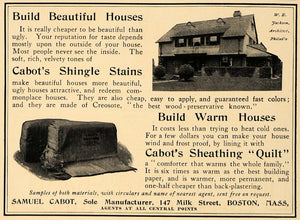 1907 Ad Cabot Sheathing Quilt Shingle Stain W.E Jackson - ORIGINAL CL8