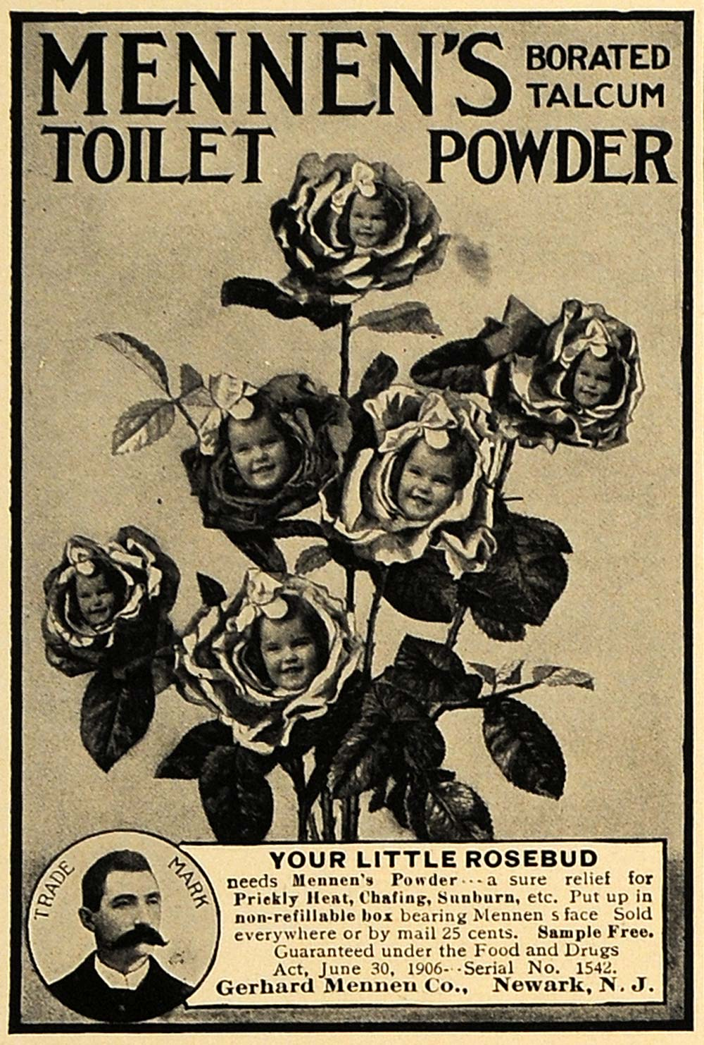 1907 Ad Mennen's Talcum Toilet Powder Child Rosebuds - ORIGINAL ADVERTISING CL8