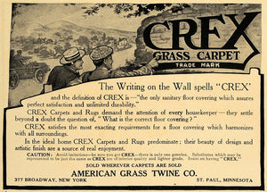 1907 Ad Crex Grass Carpet Rugs American Grass Twine - ORIGINAL ADVERTISING CL8