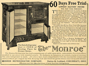1907 Ad Monroe Refrigerator Cabinet 60 Day Free Trial - ORIGINAL ADVERTISING CL8