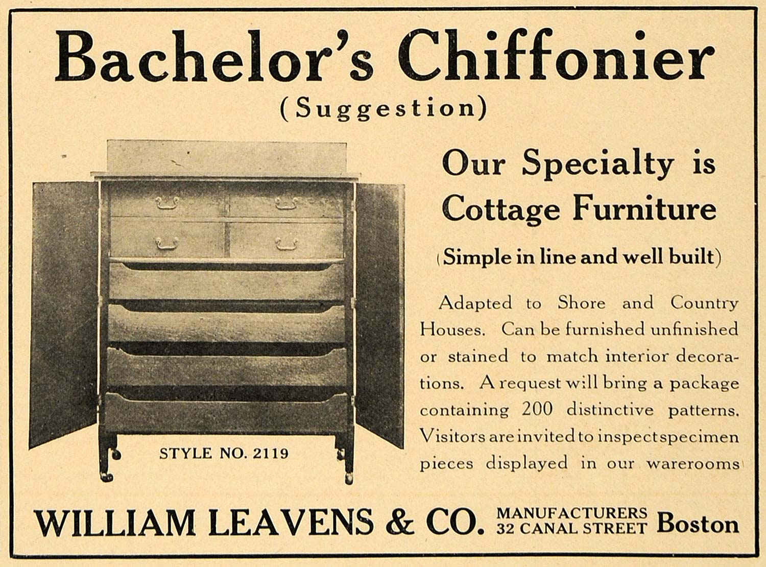 1907 Ad Bachelors Chiffonier William Leavens Furniture - ORIGINAL CL8