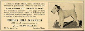 1927 Ad Prides Hill Kennels Shaw McKean Fox Terrier Dog - ORIGINAL CL8