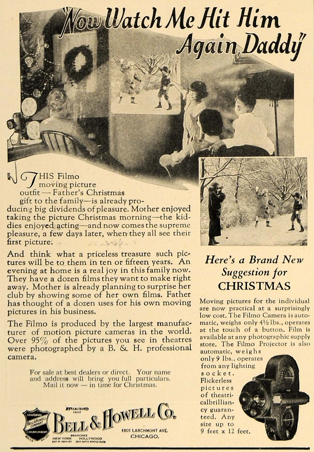 1924 Ad Snow Fight Filmo Projector Camera Bell Howell - ORIGINAL ADVERTISING CL8