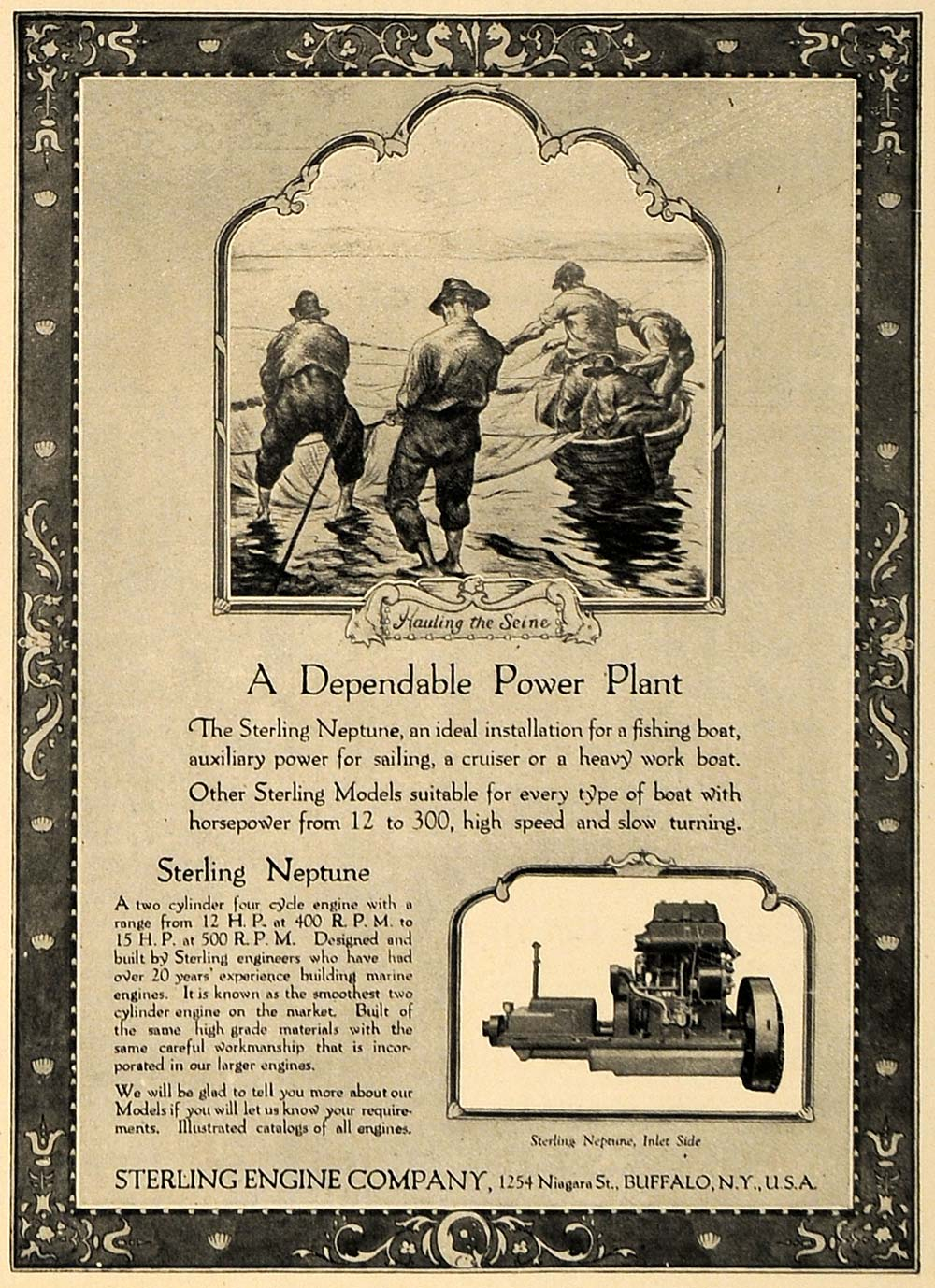 1924 Ad Sterling Neptune Fish Boat Engine Power Plant - ORIGINAL ADVERTISING CL8