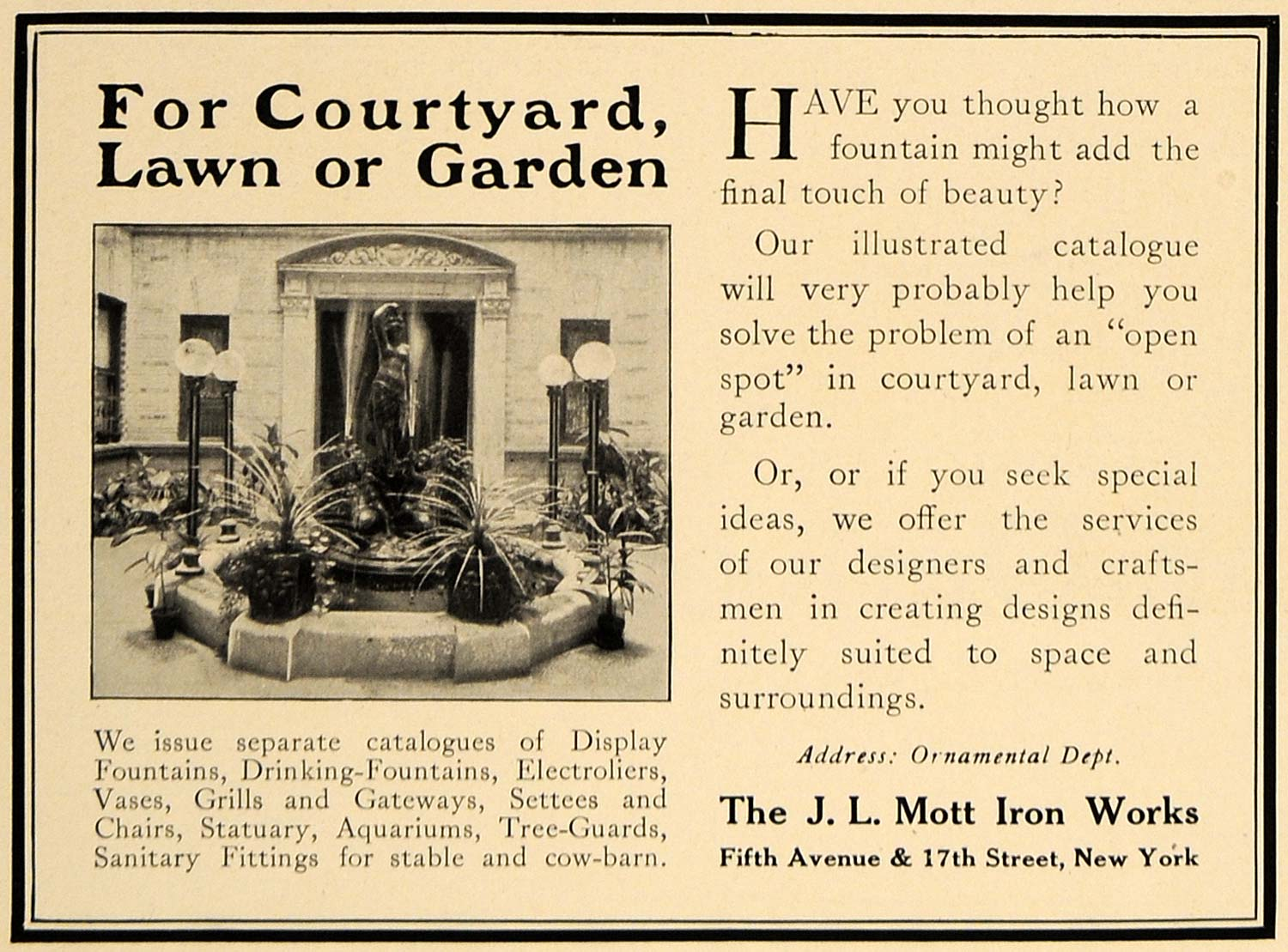 1913 Ad J. L. Mott Iron Works Outdoor Decor Fountains - ORIGINAL ADVERTISING CL8