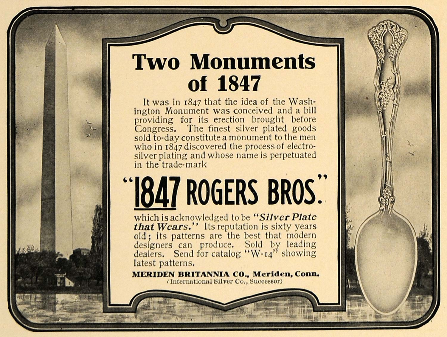 1906 Ad 1847 Rogers Bros Silver Spoon Washington MON. - ORIGINAL ADVERTISING CL8